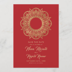 Photo Save The Date, Indian Wedding, Red and Gold Save The Date