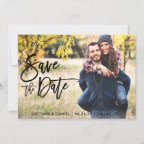 Photo Save The Date Modern Brush Script Card