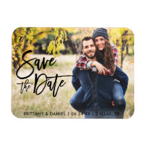 Photo Save The Date Modern Brush Script Magnet