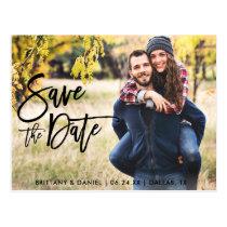 Photo Save The Date Modern Brush Script Postcard