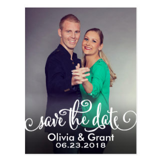 Photo Save the Date | Modern Script Writing Postcard