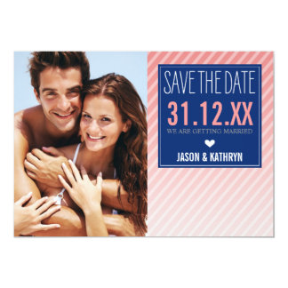 """PHOTO SAVE THE DATE ombre angled stripe navy coral 5"""" X 7"""" Invitation Card"""