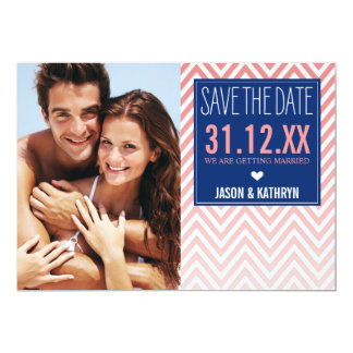 PHOTO SAVE THE DATE ombre chevron coral navy blue Card