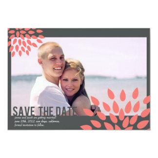 Photo Save the Date | Posh Petals | Coral Card