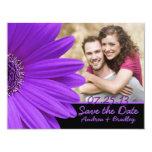 Photo Save the Date Purple Gerbera Black Card