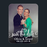 "Photo Save the Date | Stylish Script Magnet<br><div class=""desc"">Wedding save the date announcement magnets feature a portrait engagement photo with &quot;Save the Date&quot; overlay design in a stylish white script. Personalize with an engagement photo and custom text.</div>"