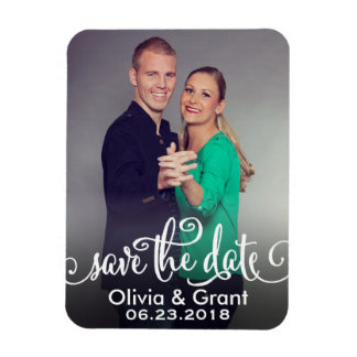 Photo Save the Date | Stylish Script Rectangle Magnets
