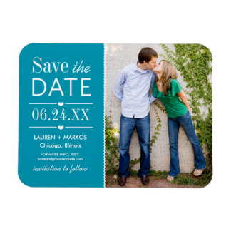 Photo Save the Date | Teal Blue Magnet