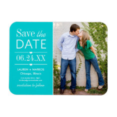 Photo Save The Date | Turquoise Blue Magnet at Zazzle