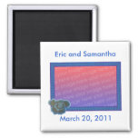 Photo Save the date wedding magnets, blue rose