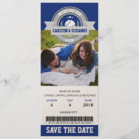 Photo Save The Date Wedding Sports Ticket