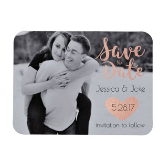 Photo Save the Date with Rose Gold Magnet