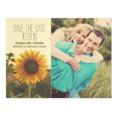 Photo save the date with sunflower post cards