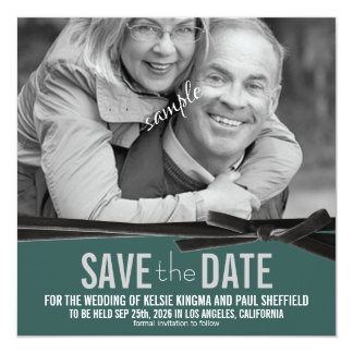 Photo Save the Date with Velvet Ribbon Card