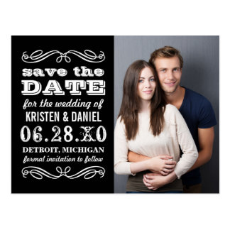 Photo Save the Dates | Black and White Postcard