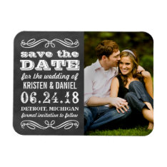 Photo Save The Dates | Vintage Black Chalkboard Magnet at Zazzle
