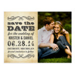 Photo Save the Dates   Vintage Poster Style Postcard