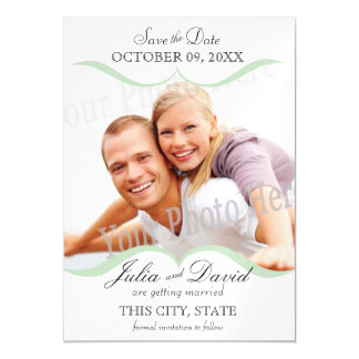 Photo Scallop Frame Mint Save the Date Magnetic Card