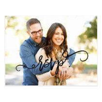 Photo Script Wedding RSVP Postcard