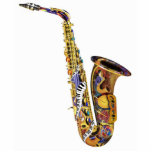 "Photo Sculpture Saxophone Gift Sculpture<br><div class=""desc"">Colorful acrylic printed sculptures on base from Juleez, designed by artist Julie Borden. Stunning, full color artwork is printed on acrylic, creating these dynamic looking collectibles. Available in a variety of sizes with bases for display. These unique sculptures turn any space into a gorgeous gallery or makes a great gift...</div>"