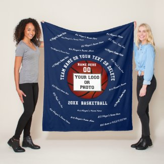Photo Senior Night Gifts for Basketball Players Fleece Blanket