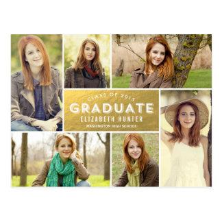 Photo Showcase Graduation Announcement Gold Postcard