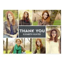Photo Showcase Graduation Thank You Card - Chalk Postcards