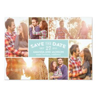 Photo Showcase Save The Date - Blue 5x7 Paper Invitation Card