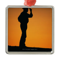 Photo, silhouette of a cowboy with his hand on metal ornament