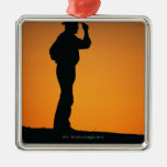 Photo, silhouette of a cowboy with his hand on ornament