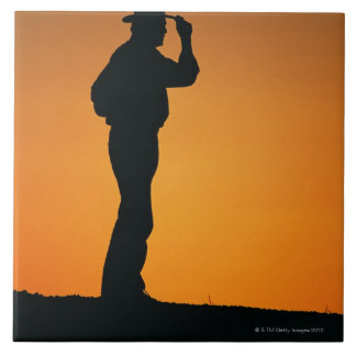 Photo, silhouette of a cowboy with his hand on tile