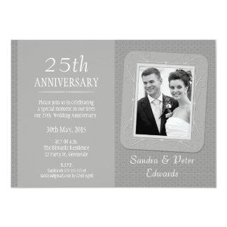Photo Silver 25th Wedding Anniversary Invitation