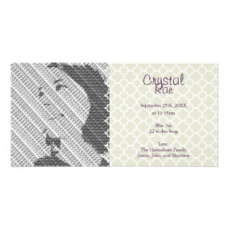 Photo Silver Baby Birth Announcement Photo Cards