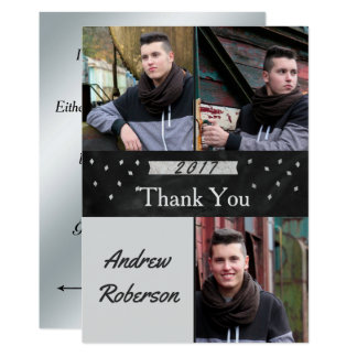 Photo Silver Graduation Thank You Card