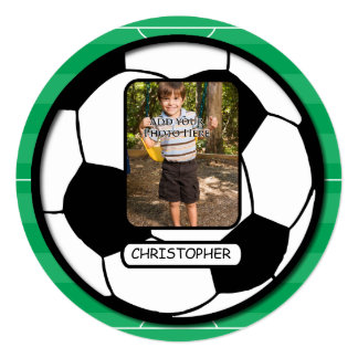 Photo Soccer Ball on Pitch Birthday Party Card