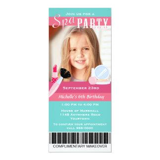 Photo Spa Party Birthday 4x9.25 Paper Invitation Card