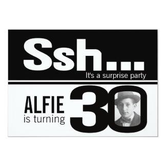 Photo ssh men black white 30th birthday invite