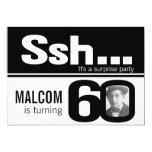 """Photo ssh men black white 60th birthday invite 5"""" x 7"""" invitation card"""