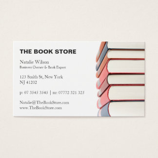 Photo, Stack of Books - Book Store - Business Card