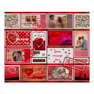 Photo Stamp Love Collage Red PSCX Poster