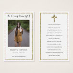 """Photo Sympathy Funeral Memorial Prayer Cards<br><div class=""""desc"""">This design printed Gold Glitter Cross and Glitter Frame Photo Sympathy Funeral Memorial Prayer Cards that can be customized with your text. Please click the """"Customize it"""" button and use our design tool to modify this template. Check out the Graphic Art Design store for other products that match this design!...</div>"""