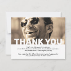 Photo Sympathy Funeral Memorial Thank You Card