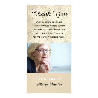 Photo Sympathy Memorial Thank You Fall Leaves Card