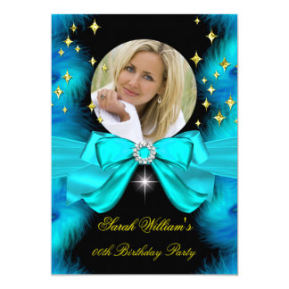 Photo Teal Blue Feathers Bow Gold Birthday Party 5x7 Paper Invitation Card