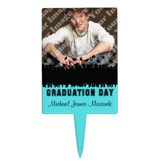 Photo Teal Silhouette Graduation Cake Topper