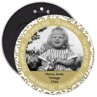 Photo Template: 70th Birthday Gold and White Theme Button