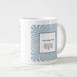 Photo Template - Aqua and White Distorted Checks 20 Oz Large Ceramic Coffee Mug