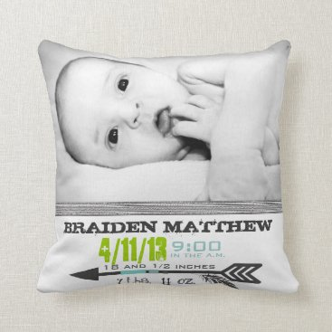 Aztec Themed Photo Template Arrow Birth Pillow