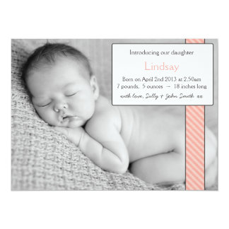Photo Template Baby Girl Announcement- Pink Ribbon