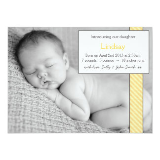 Photo Template Baby Girl Announcement  - Yellow
